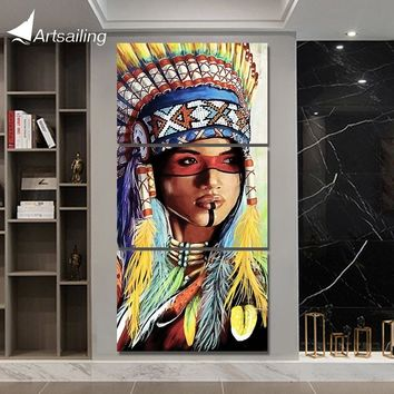 3 piece canvas art Painting native American Indian with feather decoration pictures for living room Poster NY-7807C