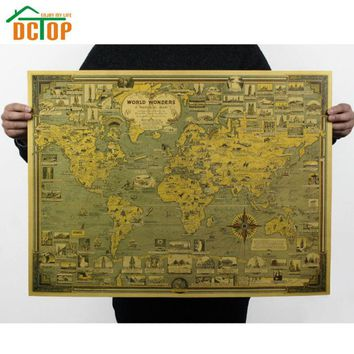Vintage Poster Global World Map Decals The World's Architectural Landmarks Retro Kraft Paper Wall Sticker Home Decor