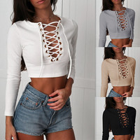 Fashion Pit Stripe Crisscross Straps Deep V Long Sleeve T-shirt Crop Top