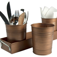 4-Pc Oasis Picnic Caddy, Antiqued CopperARTLAND