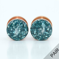 Blue Crushed Glass on Rose Gold Plugs / 8g, 6g, 4g, 2g, 0g, 00g, 1/2in, 5/8in / glass gauges / copper rose gold plugs
