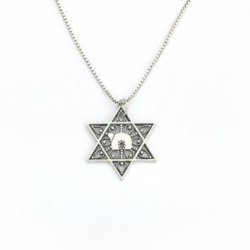 Filigree Star of David & Chai Necklace by Neta Wolpe, Jewelry Size: 1 L x 1 W