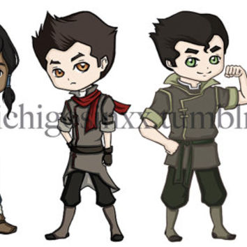 Anime Manga Cartoon Vinyl Avatar The Last Airbender Legend of Korra Stickers- Chibi Korra Mako Bolin Asami Sato