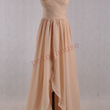 Champagne Hi Low Bridesmaid Dresses, Prom Dresses 2015, Simple Party Dresses, Homecoming Dresses, wedding Party Dresses , Bridesmaid Dresses