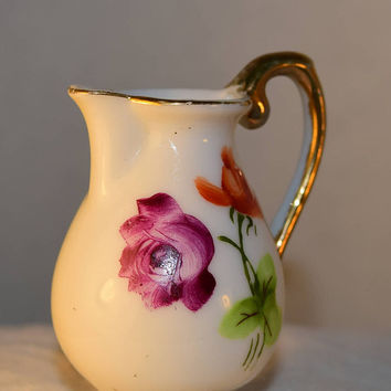 Japan Miniature Floral Pitcher Vintage Ceramic Painted Gilded Mini Pitcher Made in Japan Markers Mark Dollhouse Pitcher Creamer