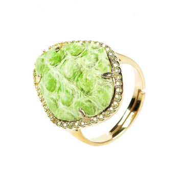 Snakeskin diamond ring - Lime