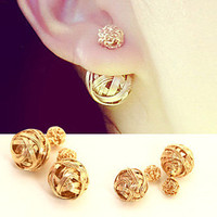 E0051 Hot Selling Ball Stud Earrings for Women Fashion Double Sides Imitation Pearl Earring Gold Plated Beads Earrings Jewelry