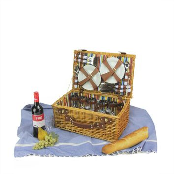 6-Person Hand Woven Honey Willow and Striped Picnic Basket Set with Accessories