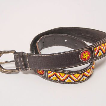 Native American Beaded Leather Belt S M / Aztec Chevron Red, White, Yellow Peyote Stitch Tooled Leather | Hippie Boho Navajo Indian Belt