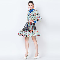 Character Print Long Sleeve Doll Collar Button Down Mini Dress