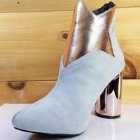 "Adira 25 Gray Rose Gold Star Ankle Boot - 3.5"" Cylinder Heels"
