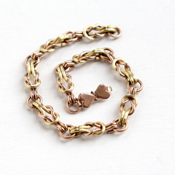 Vintage 12k Gold Filled Link Bracelet - 1940s Two Tone Yellow & Rose Gold Fill with Heart Clasp Sweetheart WWII Jewelry