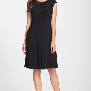 Women's Chetta B Beaded Bodice Jersey Fit & Flare Dress,