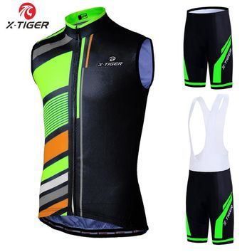 X-Tiger Sleeveless Cycling Jersey Set Summer Mountain Bike Vests Clothing Ropa Maillot Ciclismo Racing Bicycle Clothes