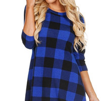 Pretty in Plaid Dress - Blue