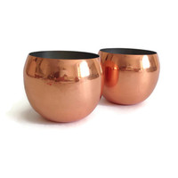 Vintage Roly Poly Copper Cups, Coppercraft Guild, Set of 2, Mid Century Barware, Retro Copper Cups, Original Foil Label