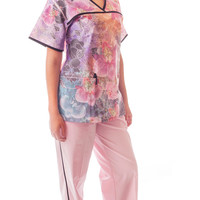 Women's Front Digital Orchid Print Scrubs Set