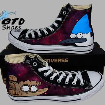 Hand Painted Converse. The Regular Show, Rigby and Mordecai Design. Handpainted shoes.