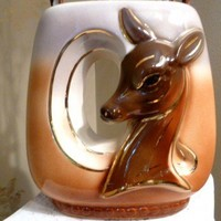 Mid Century Vase with Deer in Retro shades of Carmel, Grey and Cocoa   RefinedVintage - Home Decor on ArtFire