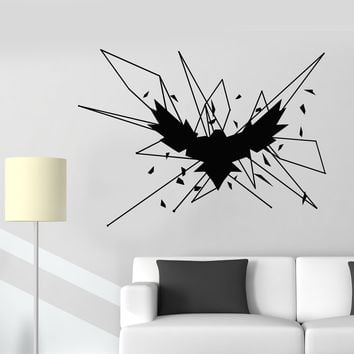 Vinyl Wall Decal Geometric Gothick Style Raven Bird Crow Stickers (2705ig)