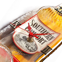 Southern Comfort whiskey melted bottle clock - Recycled whisky bottle clock - christmas gift for him