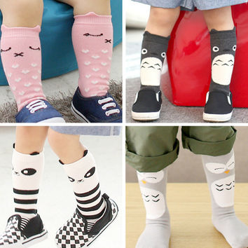 0-4 Years Baby Cotton Socks Anti Slip Cartoon Sokken Kids Knee Highs for Toddler Girls Clothing Accessory Boy Clothes Leg Warmer