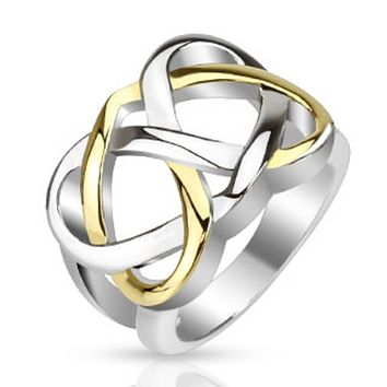 Celtic Knot Two Tone IP Frontal Ring Stainless Steel