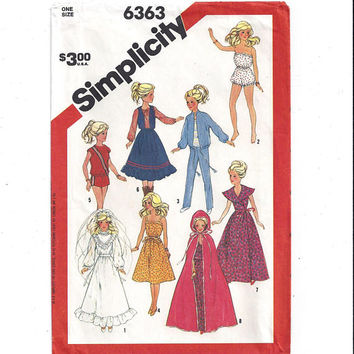Simplicity 6363 Pattern for Barbie & Darci Clothes, 11.5 In Fashion Dolls, 1983, Wedding Gown, Cape, Western, Vintage Pattern, Home Sewing