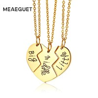 Meaeguet 3 Pcs/Set Adorable Family Jewelry Big Sis Middle Sis Little Sis Love Heart Charm Pendant Necklace Set for Sister