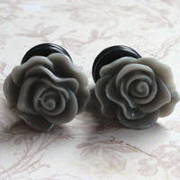 Grey Rose Plugs for Gauged Ears Size 0, 2, 4, 6, gauge, Also available as regular earrings