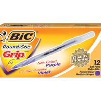 BIC Round Stic Grip Medium Point Ballpoint Pens, 12 Purple Ink Pens