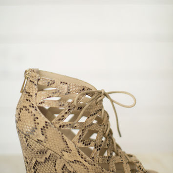 Royce Cutout Lace Up Wedge