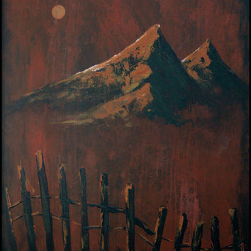 "Peak In Earth: 40""x30"" An original expressionistic mountain landscape painting by Dean Sauls"
