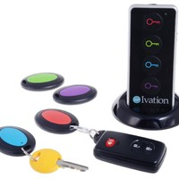 Ivation Wireless RF Item Locator/Key Finder with LED flashlight and base support. With 4 Receivers