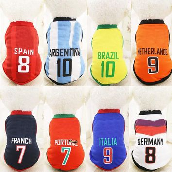 Sports Football Dog Clothes Chihuahua Pet Clothing Dog Vest Cat Shirt Pet Clothing Summer Cotton Sweatshirt Dog Clothes XS-6XL