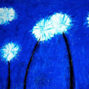 10% off Sale- 18x14 Oil Pastel Drawing - Dandelion Breezeon - Gallery Wrapped Canvas