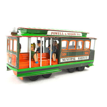 Vintage Tin Litho Friction San Francisco Trolley Cable Car Made in Japan