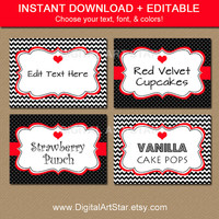 Valentines Day Labels - Printable Chevron Black Red Candy Buffet Labels, Tent Cards - EDITABLE Valentine Buffet Cards, Food Tags - INSTANT