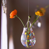 Ranunculus Flower Vase, Hanging Wall Vase, Polka Dot Glass Flower Vase, Colorful Home Decor