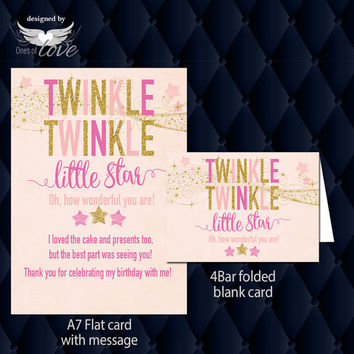 Twinkle Little Star Party Thank you card | pink and gold invitation | Printed or digital download | 1st 2nd 3rd birthday | Custom order