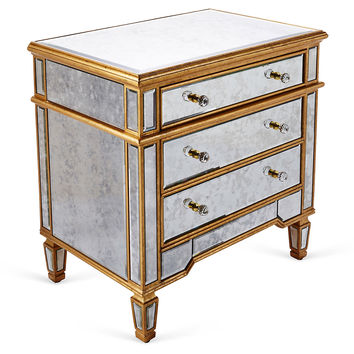 Mirrored 3 Drawer Cabinet, Gold, Cabinets & Hutches