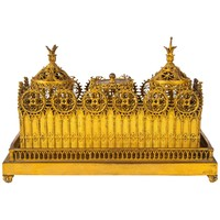 Victorian Gilt Brass Inkstand Cast with Gothic Tracery
