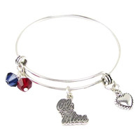 Ole Miss Rebels NCAA Austrian Crystal Heart Logo Bracelet
