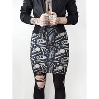 Bodycon Dinosaur Bones mini skirt - black