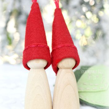 Winter Berry Wooden Peg Doll Sister Pixies