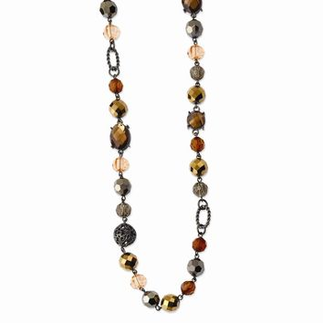 Black-plated Multicolor Glass and Beads w/ Velour Cord 42in Necklace