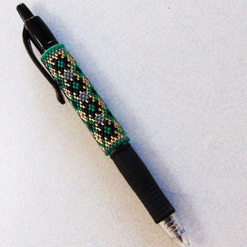 Green and Gold Beaded Pen Cover/Work Place Gift/Pretty Pens/Desk Accessories/Office Gifts/Unique Gifts/Seed Beads/Pens/Wraps/Gifts For Her