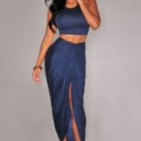 Navy Blue Cascading Two Piece Skirt Set