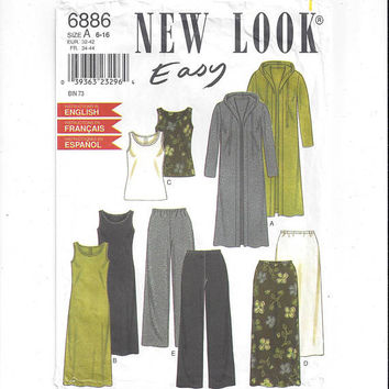 New Look 6886 Pattern for Misses' Knit Wardrobe, Sizes 6-16, FACTORY FOLDED, UNCUT, by Simplicity, From 1990s, Vintage Pattern, Home Sewing