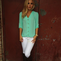 Mint 3/4 Sleeve Button Up Blouse